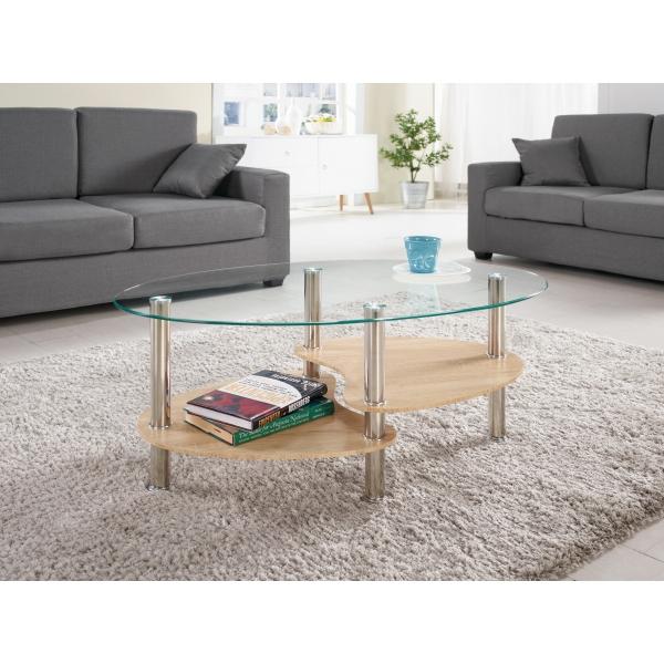 芬娜玻璃茶几 楕圓造型 雙層設計