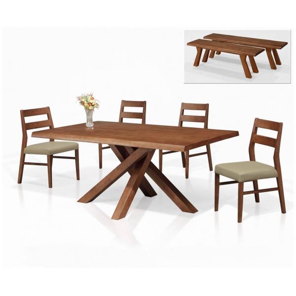 萊納全實木餐桌 5尺6尺 餐椅長凳