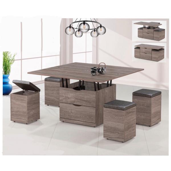 霍爾升降茶几 桌面升降餐桌設計 4個收納椅