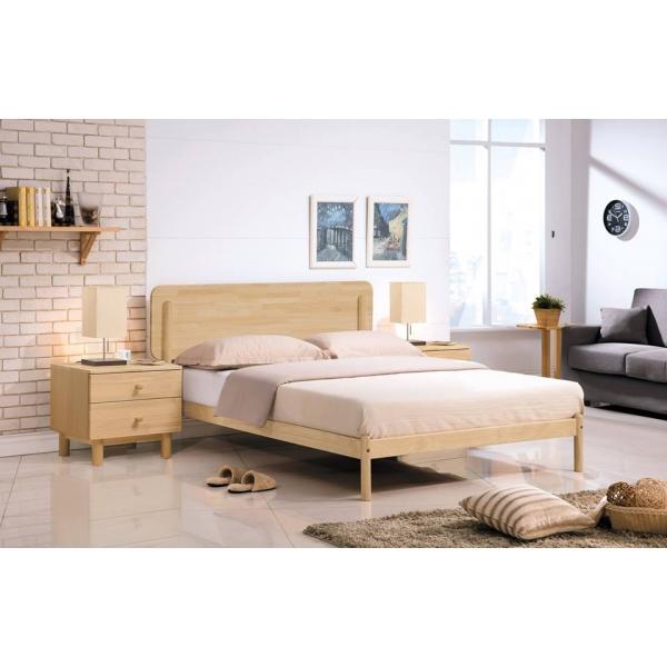 羅德北歐本色床台木面 3.5尺5尺6尺 北歐風格 圓弧設計
