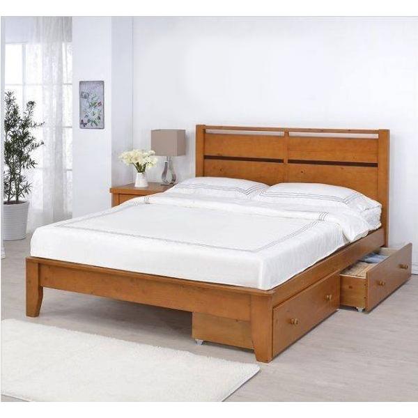 艾肯全實木床台柚木色 3.5尺5尺 抽屜設計