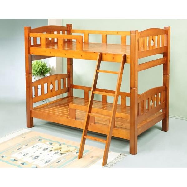 歐尼爾全實木雙層床 柚木色 實木床板