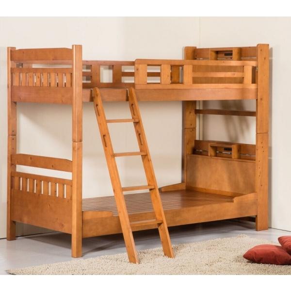 日式全實木雙層床書架型3.5尺 柚木色 實木床板
