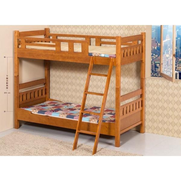 米奇全實木雙層床 柚木色 3尺 實木床板