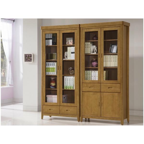 幸運草香檜實木開門書櫃 3尺 中抽下抽 散發淡淡檜木香味