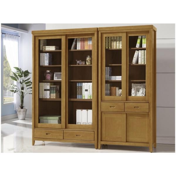 幸運草香檜實木推門書櫃 3尺4尺 中抽下抽 散發淡淡檜木香味