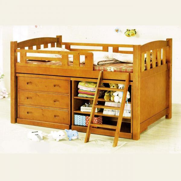 貝克漢全實木中高床 斗櫃層架儲藏櫃書桌