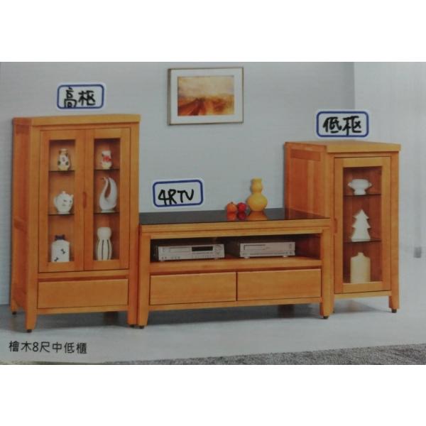 金澤香檜全實木電視櫃 4尺高櫃低櫃