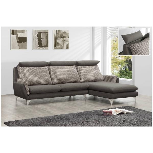 歐萊雅 亞麻布沙發 可凹折頭枕設計