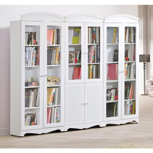 瑪莎白色2.7尺書櫃 雙門 四門