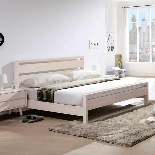 丹麥洗白全實木床台 5尺6尺