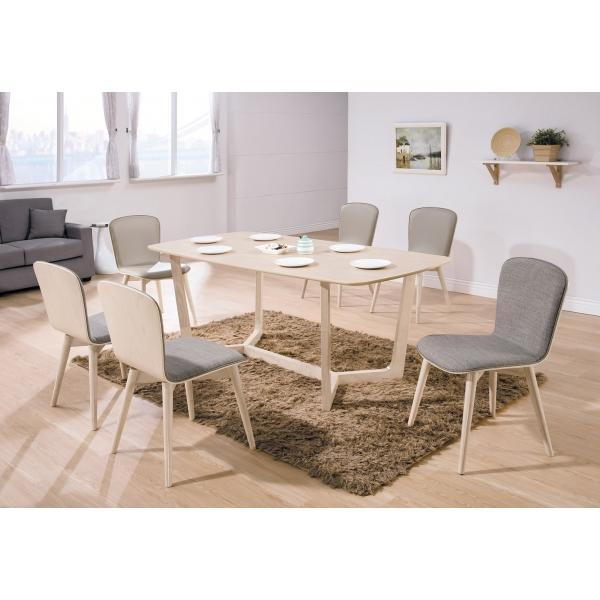 喬克洗白6尺餐桌 喬克洗白餐椅灰布淺咖啡皮