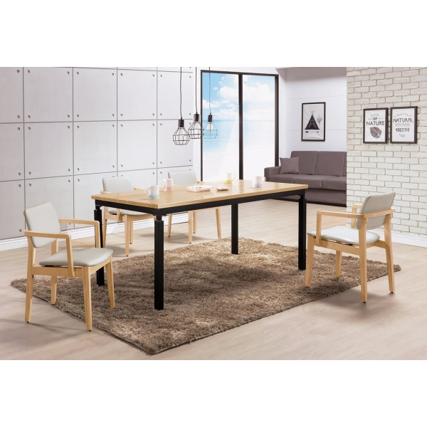 伊諾克6尺原木全實木黑腳餐桌 莫德原木雙扶手亞麻皮餐椅