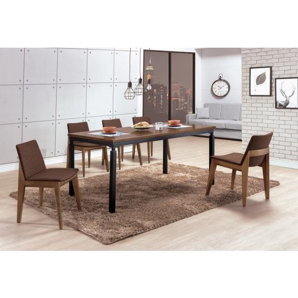 伊諾克6尺淺胡桃全實木黑腳餐桌 伊諾克淺胡桃咖啡布餐椅
