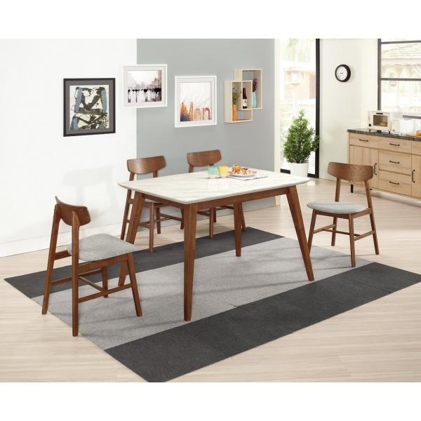 魯伯德4.3尺原石餐桌 瑪貝爾餐椅