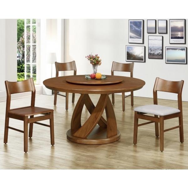 帕克全實木圓形餐桌 4.5尺5尺 貝克餐椅