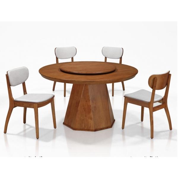 柏克全實木圓形餐桌 4.5尺5尺 亞柏餐椅