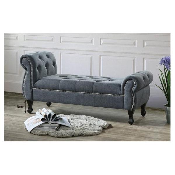 愛德華深灰布床尾椅