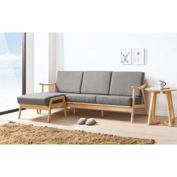 格瑞原木L型休閒椅組