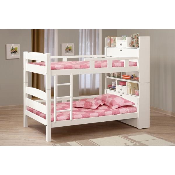 洛克3.5尺白色多功能雙層床