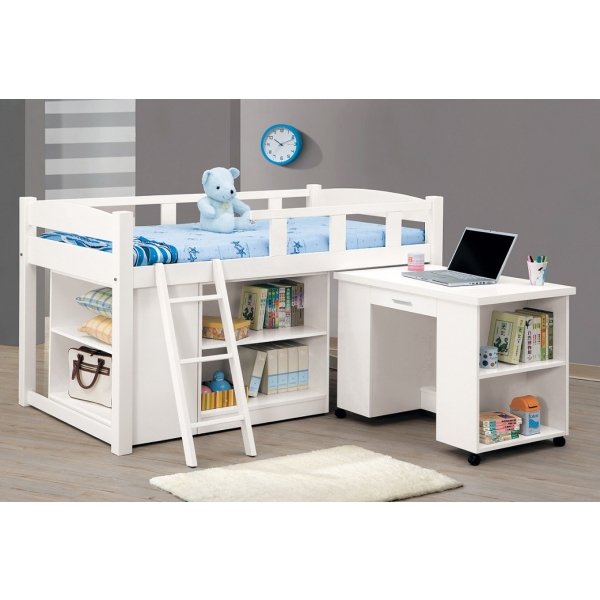 貝莎3.8尺白色多功能組合床 活動書桌 收納櫃