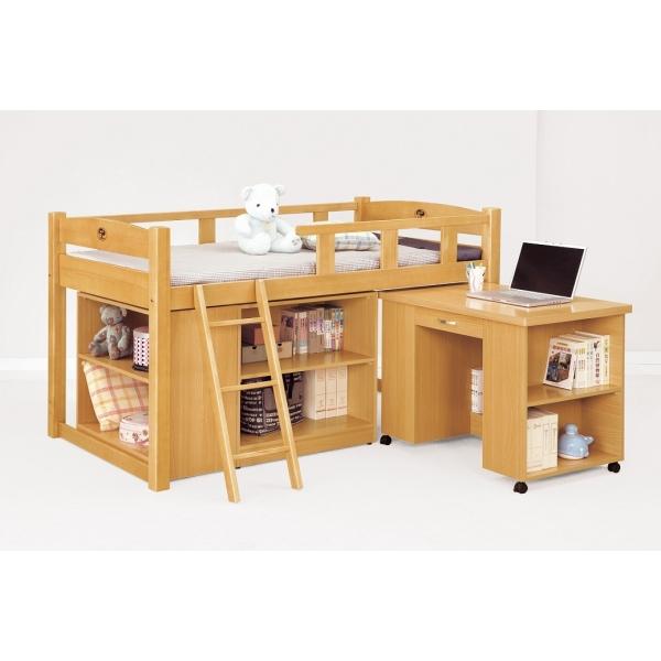 貝莎3.8尺檜木多功能組合床組 活動書桌 收納櫃