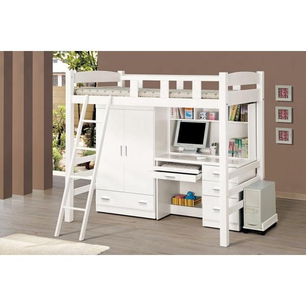 貝莎3.8尺白色多功能挑高組合床 衣櫃 電腦桌