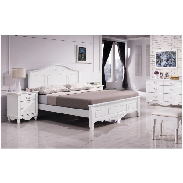 卡蘿歐風白色床台 5尺6尺