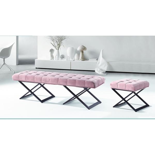 卡蒂亞粉紅色絨布床尾椅 雙人椅單人椅