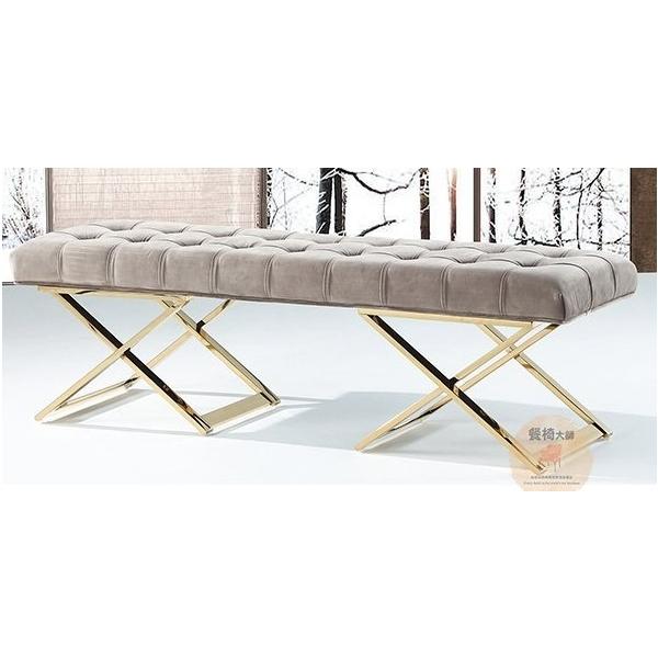 威尼斯淺灰絨布床尾椅
