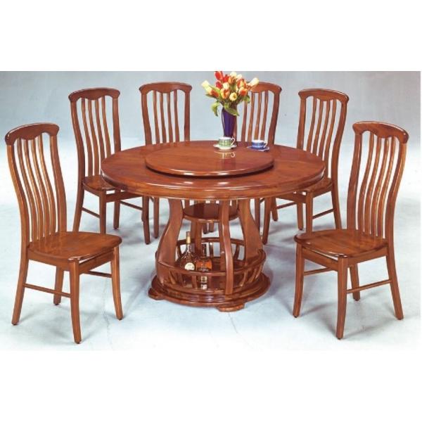 亞伯全實木圓形餐桌 4.38尺4.86尺 四條餐椅