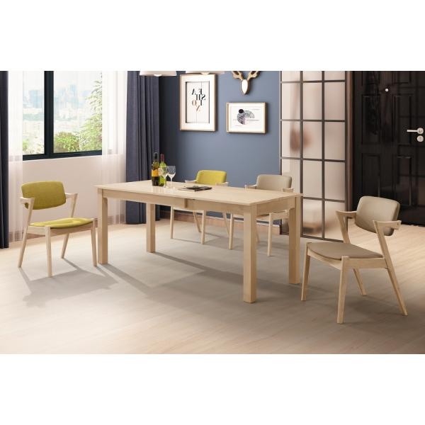 艾斯洗白全實木6尺拉合餐桌 伯尼餐椅