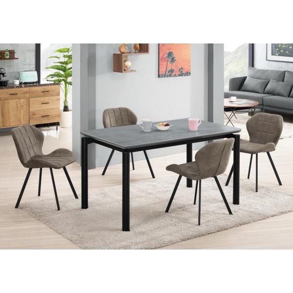 艾柏蒂4.3尺玻璃餐桌(岩玻) 伯頓餐椅