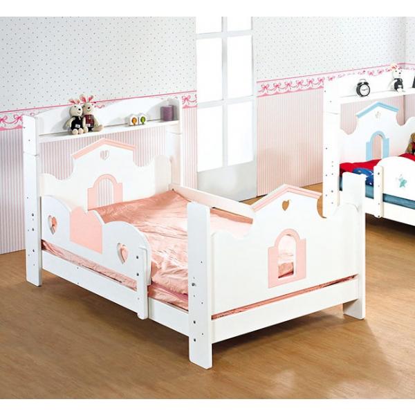 童話城堡粉紅色書架單人床台
