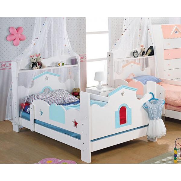 童話城堡粉藍色書架單人床台