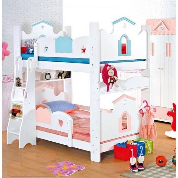 童話城堡書架型雙層床3.5尺 粉紅粉藍
